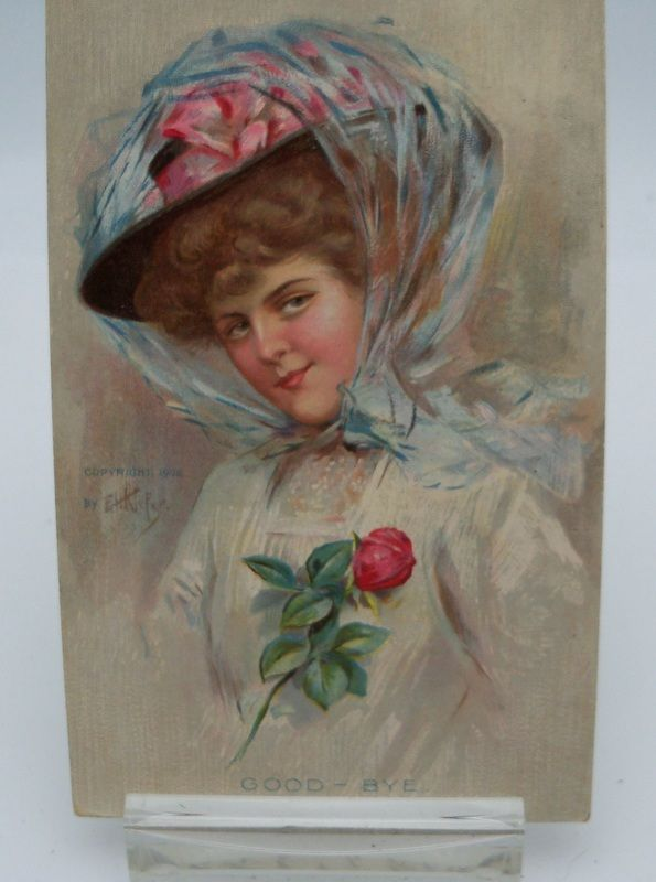 Keifer Signed Postcard Elegant Lady Wearing Big Hat &quot;Good Bye&quot;