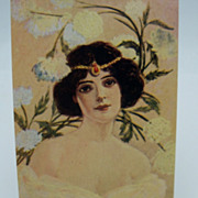 Unsigned Waskow Postcard Striking Woman in Sheer Gown