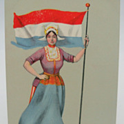 Postcard with Holland Flag, Seal and Dutch Woman