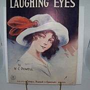 "Sheet Music ""Laughing Eyes"" Beautiful Woman"