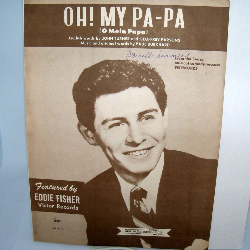 "Sheet Music Eddie Fisher ""Oh My Pa-Pa"""