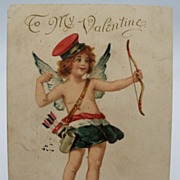 Valentine Cupid Shooting Bow and Arrow   Tuck's Postcard