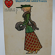 Tuck's Comic Valentine Postcard with slim lady