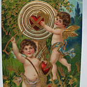 Embossed Cupid Valentine Postcard