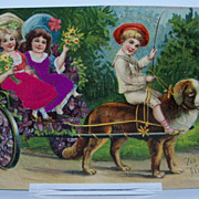 Embossed Valentine Postcard Children Riding a Dog Cart
