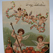 Embossed Cupids in Boat Valentine Postcard