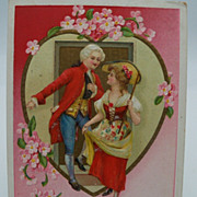 SOLD Embossed  Romantic Couple Valentine Postcard
