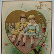 Valentine Young Children Reading Postcard