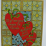 Valentine Two Hearts and Verse Postcard
