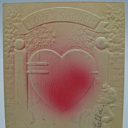Embossed Heart Valentine Postcard