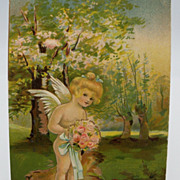 Embossed Cupid Holding Bouquet Valentine Postcard