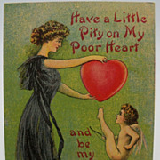 Valentine Lady with Kicking Cupid Postcard