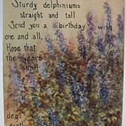 "Birthday Greeting Postcard ""Delphiniums and Verse"""