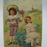 Embossed Valentine Postcard Children gathering flowers