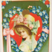 Valentine Postcard Beautiful Girl in a floral heart