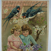 Valentine Embossed  Postcard Pair of Children and Birds