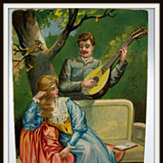 Embossed  Postcard Romantic Couple Woman and Man Playing Mandolin