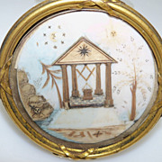 SOLD Round Mourning Painting in Brass Easel Frame