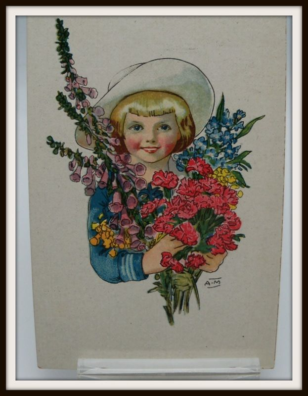 Little Girl Carrying Flowers Signed AM
