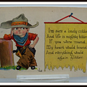 Bernhardt Wall Signed Postcard of Little Boy in Cowboy Outfit
