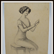 Beautiful Lady Looking at herself in a mirror Postcard