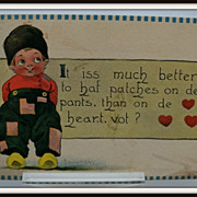 SOLD Bernhardt Wall Signed  Postcard Dutch Boy Valentine Card