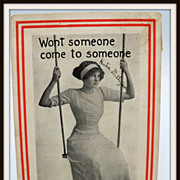 Forlorn Lady on Swing Postcard