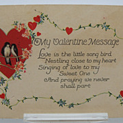 Valentine Postcard Heart and Love Birds