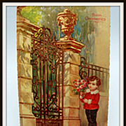 Victorian Boy Holding Flowers Postcard &quot;Buon Onomastico&quot;