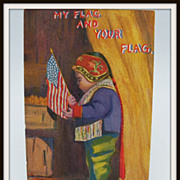 Patriotic Postcard Eskimo Holding Flag