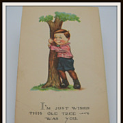 SALE PENDING Postcard Little Boy Hugging a Tree