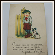 Postcard Little Boy and Puppy