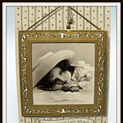 Embossed Postcard Little Girl in Picture Frame