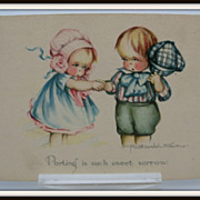 Postcard Artist Signed Surr Two Children Parting
