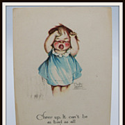 Artist Signed Surr Postcard Bawling Child