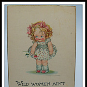 Artist Signed Surr Postcard Little Girl Holding Flower