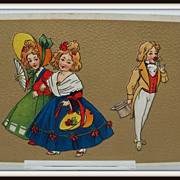 Embossed Postcard 18th Century Ladies and Gentleman