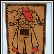 SOLD Leather Postcard of a Farm Couple Kissing