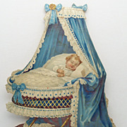 Victorian Diecut Baby in Ornate Cradle