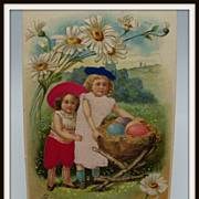 Silk Easter Postcard Children with Large Nest of Eggs