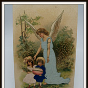 Silk Easter Postcard Angel Guiding Two Children