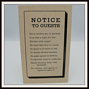 Hotel Notice to Guests Postcard