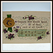 Embossed verse postcard with violets