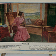 Romantic Postcard Woman Gazing Out Window &quot;Absent&quot;