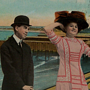 Staged Photograph of Romantic Couple Postcard