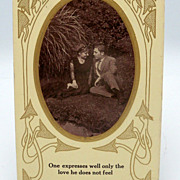 Staged Photograph Postcard with a Romantic Couple