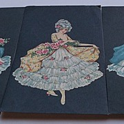 Three Cards with Black Background and Lovely Ladies