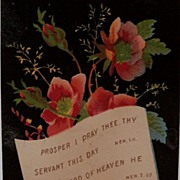 Religious saying with flowers on black background card