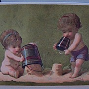 Two Victorian Cards Showing Boys at Play