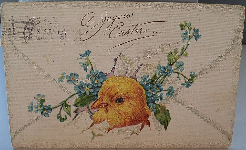 Easter Card with Baby Chick and Flowers